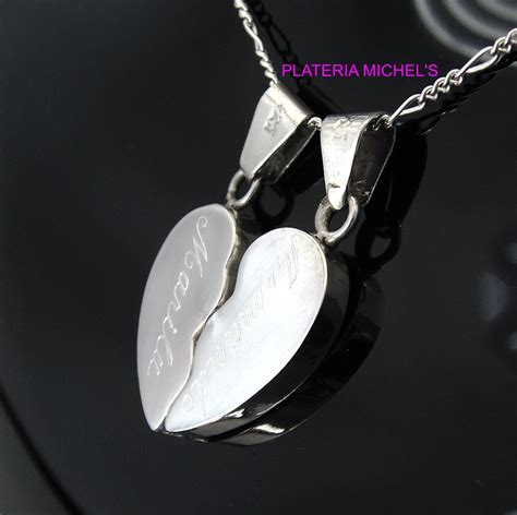 cadenas de plata corazones partidos corazon partido cartoneado chico con cadenas plata ley 0