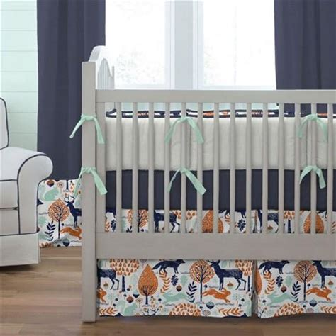 Boy Nursery Bedding Sets Navy And Orange Woodland Crib Blanket Carousel Designs