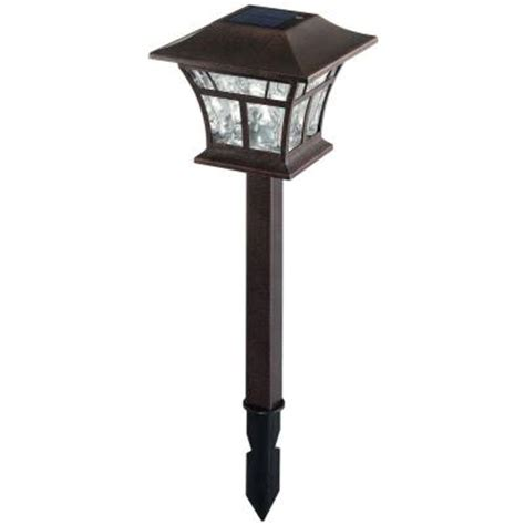 Hton Bay Solar Powered Led Flemish Copper Mission Path Solar Powered Lights Home Depot