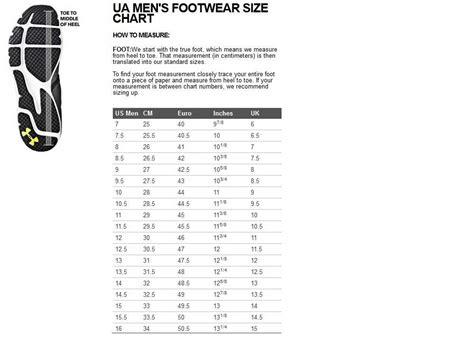 shoe size chart under armour under armour micro g split coldgear sneakers men s size 10