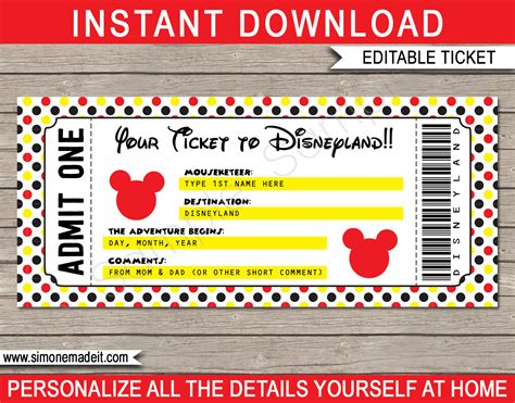printable disneyland tickets printable ticket to disneyland surprise trip to