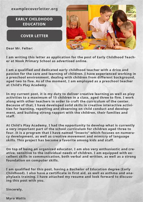 early childhood education cover letter example example
