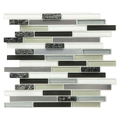 peel and stick glass backsplash instant mosaic peel and stick glass metal wall tile
