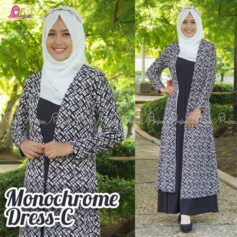Monochrome Dress By Miulan gamis monocrome c pusat modern