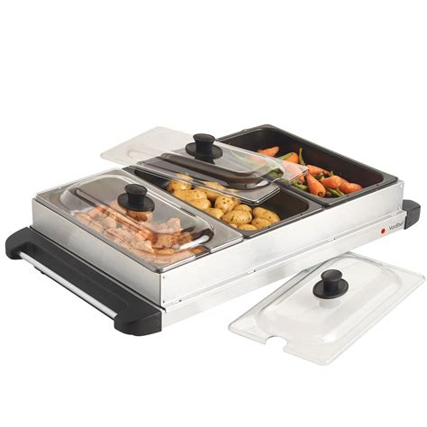 vonshef stainless steel electric 3 pan buffet food server