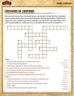 Third Grade Science Worksheets by Landform Crossword Free 3rd Grade Science Worksheet