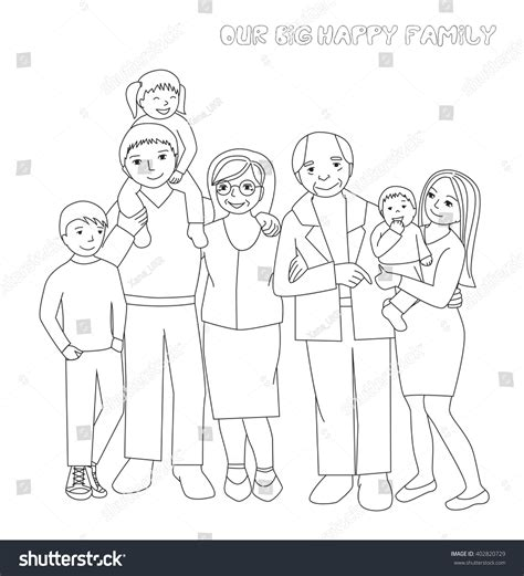 family portrait coloring page large family portrait parents childrengrandparents