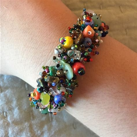 beaded multi colored bracelet w magnetic closure os from