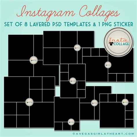 instagram layered psd collage templates 3x4 4x4 4x6
