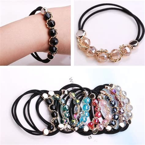 Crystal glass elastic bracelets hair rope for wemen scrunchies hair bands headband headwear hair