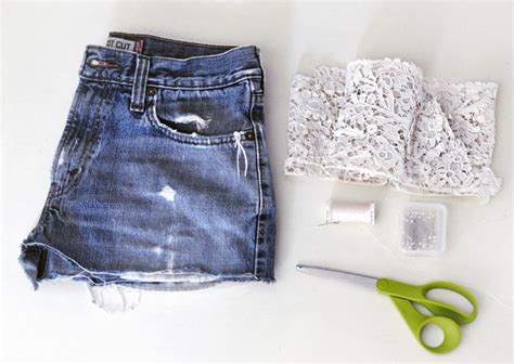 diy jean shorts diy lace jean shorts vintage lace embroidered denim cut