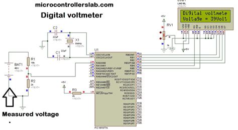 how to measure resistance using microcontroller digital voltmeter using pic microcontroller project and circuit