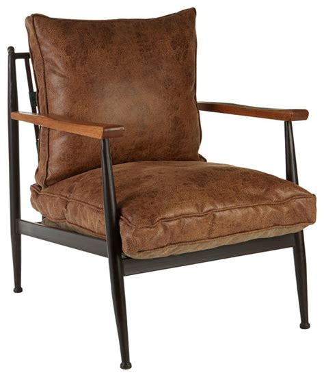 rustic leather armchair premier housewares new foundry faux leather armchair