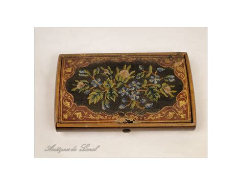 leather and tapestry box or inlaid leather and tapestry charles x the 19th