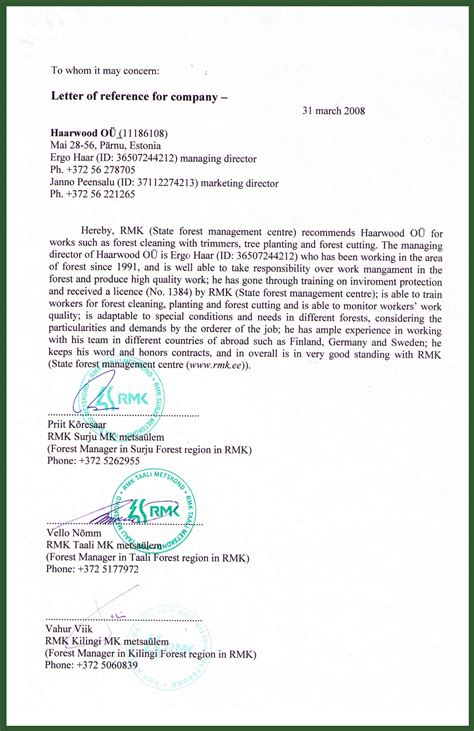 Reference Letter Images letter of reference from rmk national forest management center