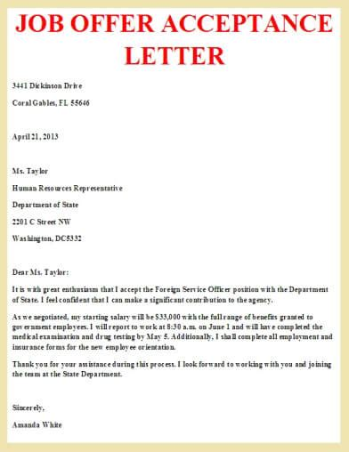 offer acceptance letter letter offer acceptance and business letter
