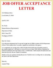 Salary Acceptance Letter Exle Offer Acceptance Letter Letter Offer Business Letter And Letter Exle