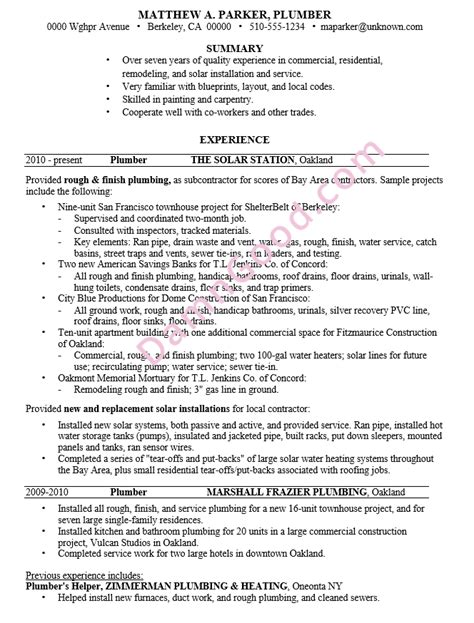 plumber resume sle sle resume painter position