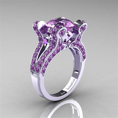 French Vintage 14K White Gold 3.0 CT Lilac Amethyst Pisces