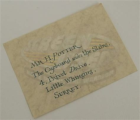 Harry Potter Hogwarts Acceptance Letter Envelope Les Hemstock Used Harry Potter Envelope Warner Bros Coa