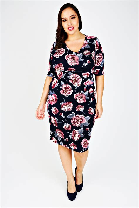 Panel Floral Midi Dress navy pink floral print midi dress with ruched waist