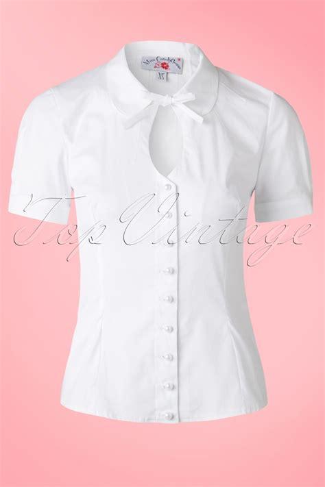Nasya Blouse White 50 50s tessa keyhole blouse in white
