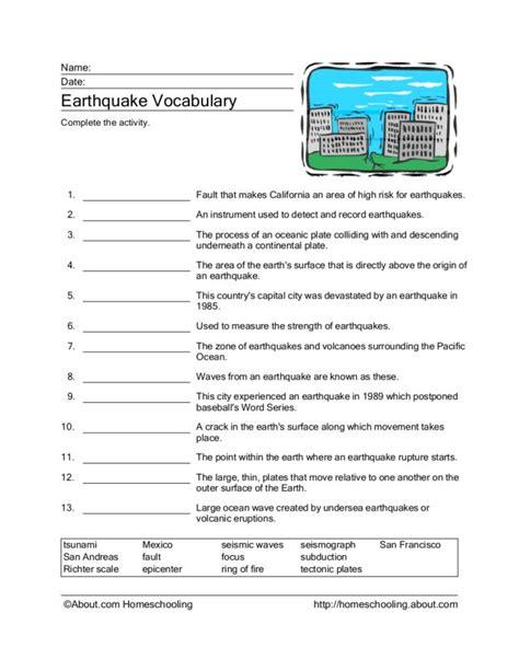 earthquake vocabulary earthquake vocabulary worksheet free worksheets library