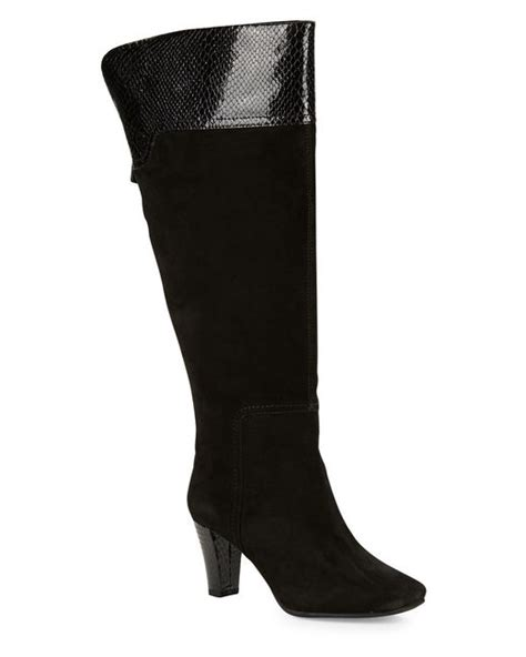 wide calf suede boots bandolino viet wide calf suede knee high boots in black lyst