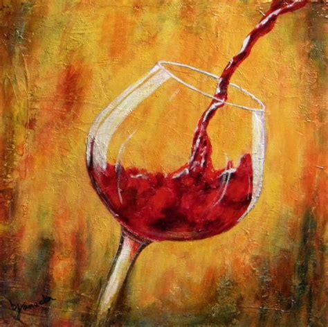 glass acrylic painting wine art work fine art by barbara janecka red wine