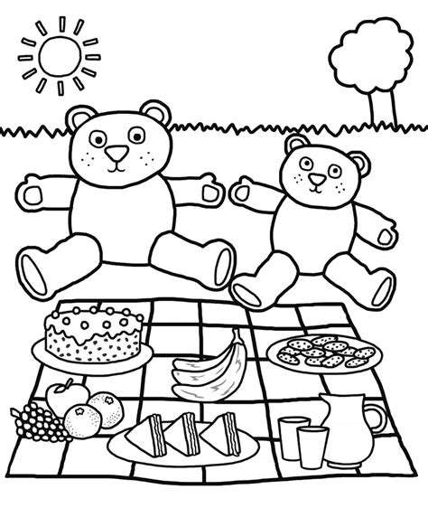 picnic coloring pages preschool teddy bear picnic coloring pages az coloring pages