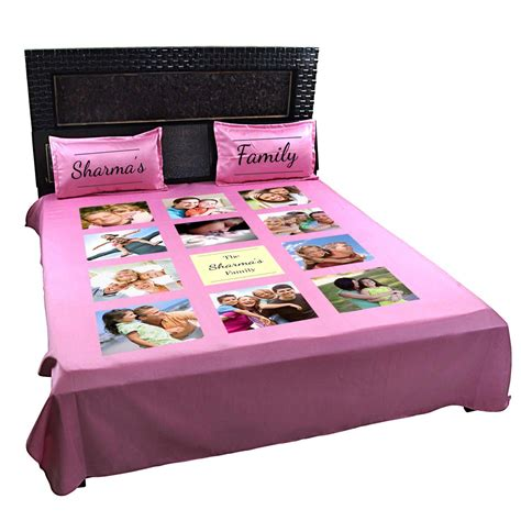 personalized family photo bedsheet with pillow covers