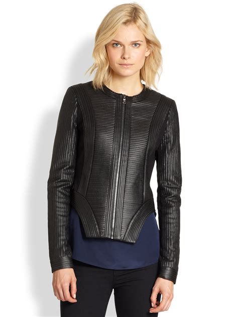 bcbgmaxazria ribbed paneled faux leather jacket in black