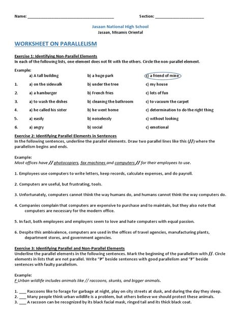 Parallel Structure Worksheet With Answers by Parallelism Worksheet