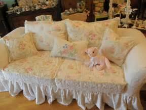 custom shabby sofa chic chenille bedspread slipcover white pink roses