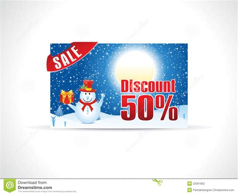 abstract christmas discount card template stock vector