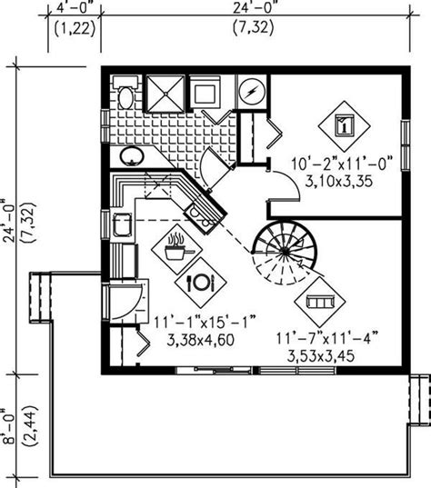 24x24 floor plans main floor plan no spiral just ladder to loft 24x24