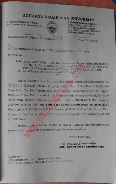 Anu Mba 4th Sem Syllabus 2017 by Anu Ug Degree 3rd 1st Year Exams Scheduled On 09 03 2017