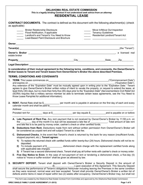 Free Oklahoma Standard Residential Lease Agreement Template Word Pdf Eforms Free Nj Rental Lease Agreement Templates