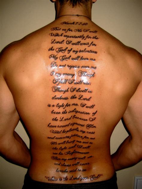 english scripts men s back tattoo tattoomagz