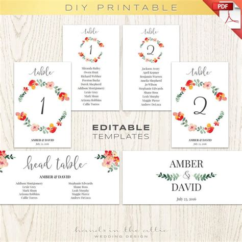 wedding table numbers number printables seating chart