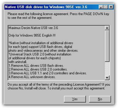 how to install usb mass storage device on windows 98