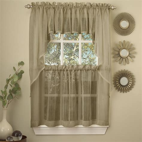 Harmony Mocha Micro Stripe Semi Sheer Kitchen Curtains Kitchen Valances Curtains