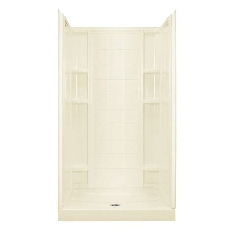 Sterling Bathroom Showers Sterling Ensemble 35 1 4 In X 42 In X 77 In Shower Kit In Biscuit 72110100 96 The Home Depot