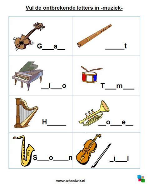 Spelling In Letters Vul De Ontbrekende Letters In Muziekinstrumenten