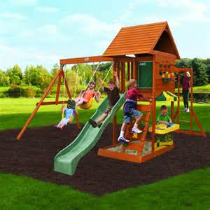 backyard wooden swing set cedar summit cove wooden swing set ebay
