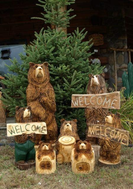 hand carved wood  bears  stump bears wolfs den