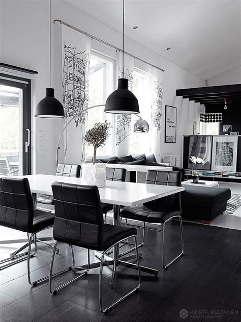 black and white interior design with comfortable