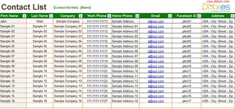 basic contact list excel list template contact list