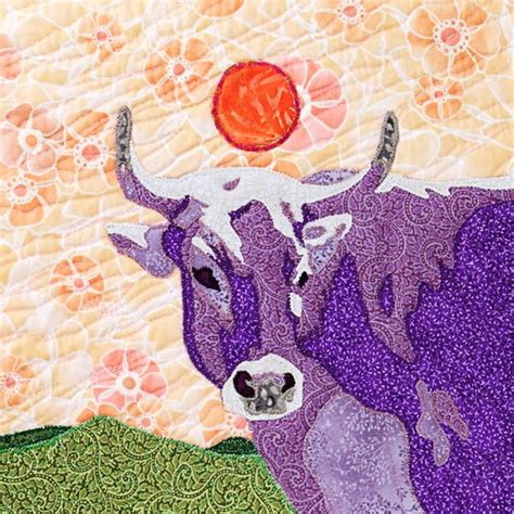 purple cow quilt blocks and cow on