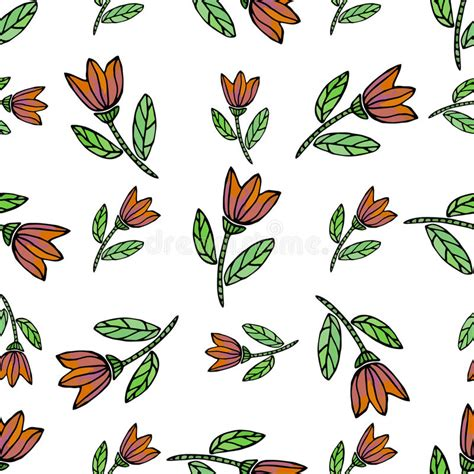 watercolor seamless pattern with ethnic flowers vector
